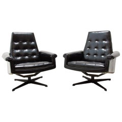 Pair of Leather Swivel Armchairs from Up Zavody, 1970´s