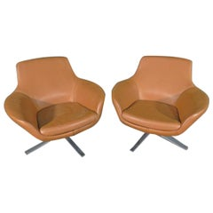 Pair of Leather Swivel Chairs by Coalesse