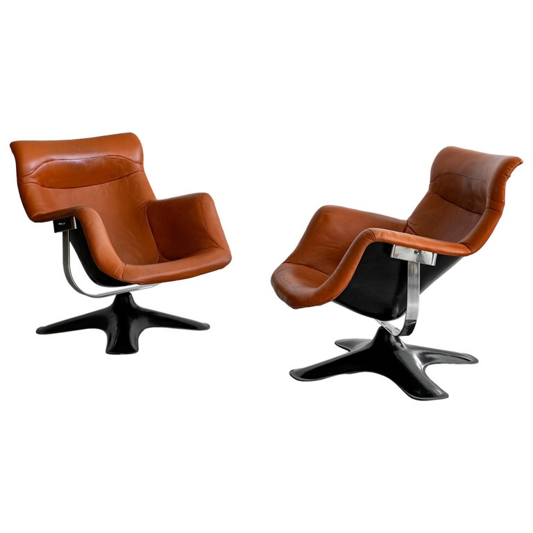 Pair of Leather Swivel Chairs by Yrjo Kukkapuro For Sale