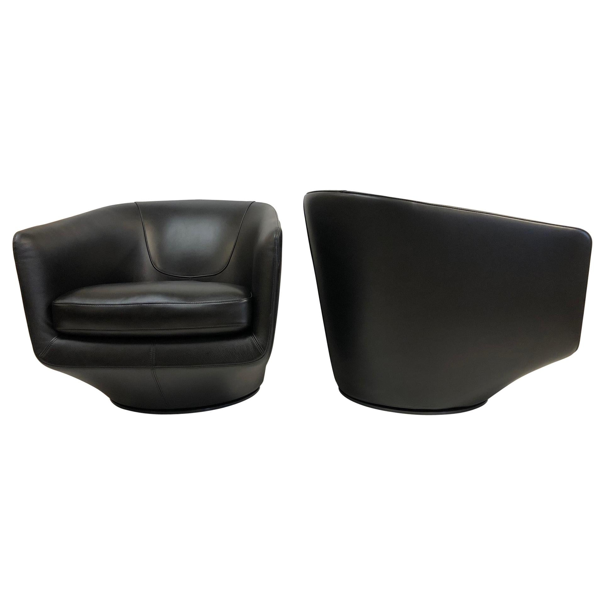 Pair of Leather Swivel Lounge Chairs by Bensen