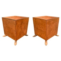 Pair of Leather Tables with Shoe Form Feet
