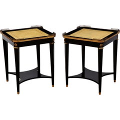 Pair of Leather Topped Side Tables by Maison Jansen