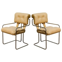 Pair of Leather 'Tucroma' Chairs by Guido Faleschini for i4 Mariani, 1970s