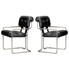 Pair of Leather 'Tucroma Chairs' by Guido Faleschini for i4 Mariani, 1970s