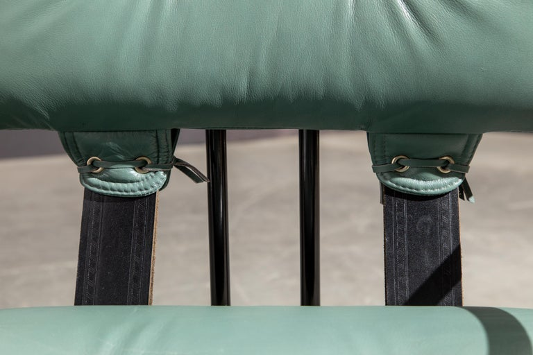 Pair of Leather Tucroma Chairs by Guido Faleschini for i4 Mariani, 1980s, Signed For Sale 11