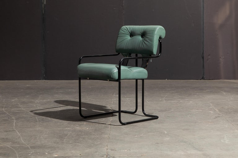 Modern Pair of Leather Tucroma Chairs by Guido Faleschini for i4 Mariani, 1980s, Signed For Sale