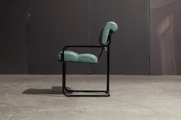 Italian Pair of Leather Tucroma Chairs by Guido Faleschini for i4 Mariani, 1980s, Signed For Sale