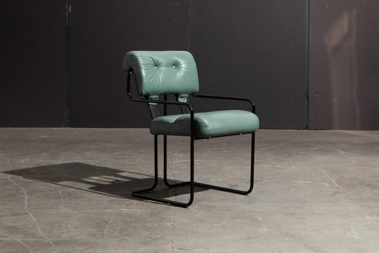 Pair of Leather Tucroma Chairs by Guido Faleschini for i4 Mariani, 1980s, Signed For Sale 1