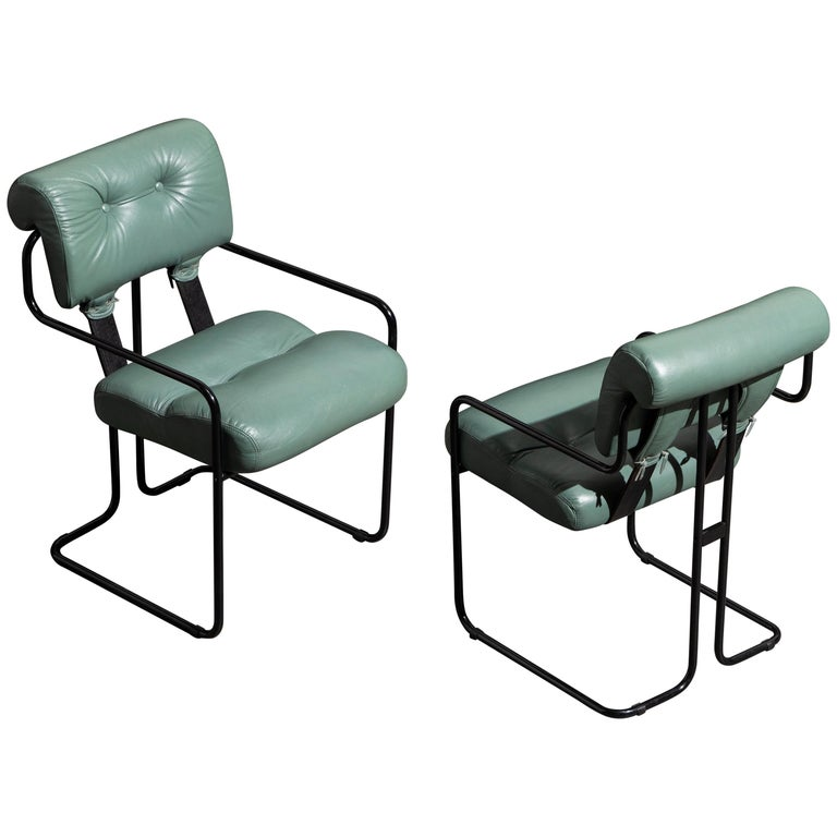 Pair of Leather Tucroma Chairs by Guido Faleschini for i4 Mariani, 1980s, Signed For Sale