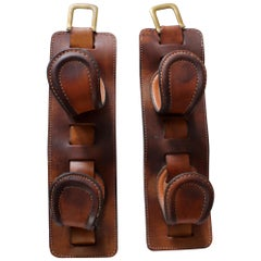 Pair of Leather Wine Holders by Jacques Adnet, circa 1940