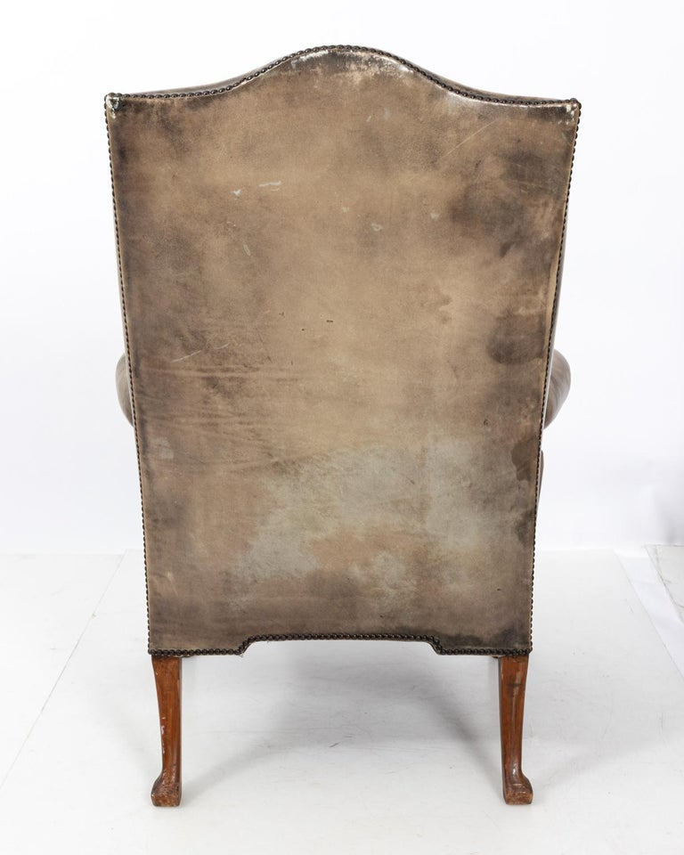 Pair of Leather Wingback Armchairs For Sale at 1stdibs