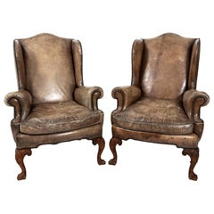 Pair of Leather Wingback Armchairs