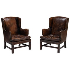Pair of Leather Wingchairs, England, circa 1950
