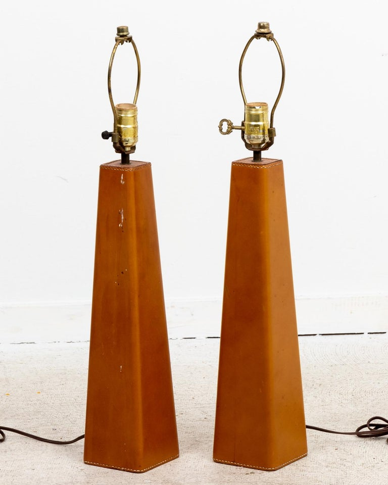 Metal Pair of Leather Wrapped Danish Modern Lamps For Sale