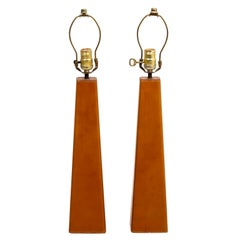 Pair of Leather Wrapped Danish Modern Lamps
