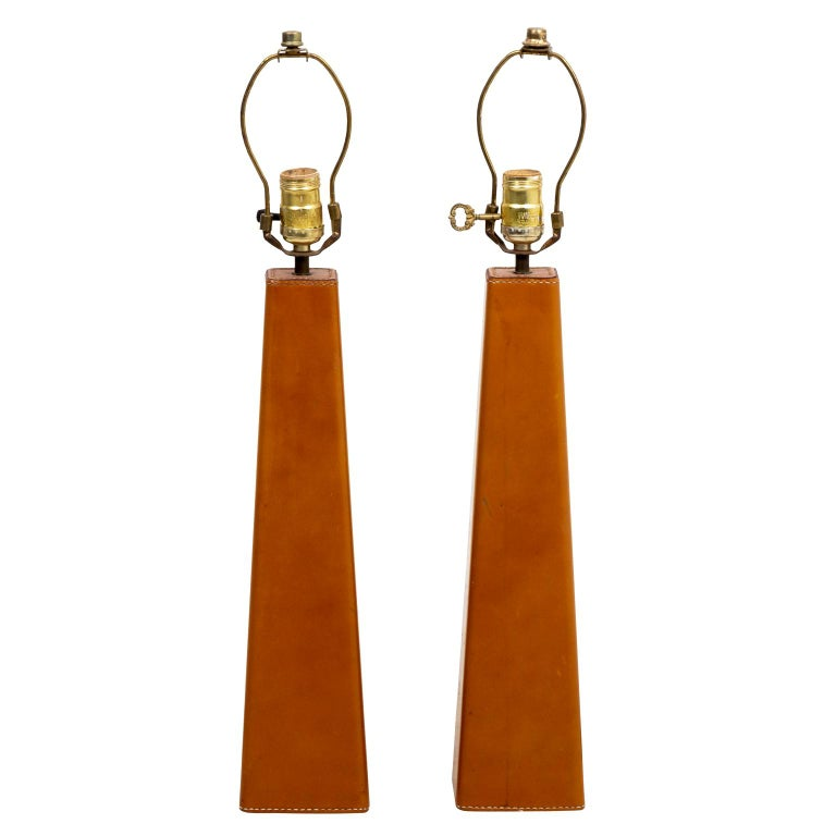 Pair of Leather Wrapped Danish Modern Lamps For Sale