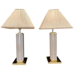 Pair of Leather Wrapped Modern Table Lamps with Custom Shades, Lorin Marsh