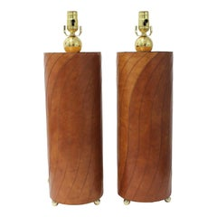Pair of Leather Wrapped Table Lamps by Pierre Cardin