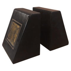 Pair of Leather Wrapped World Map Bookends