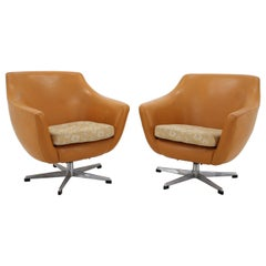 Pair of Leatherette Swivel Chairs, 1970s