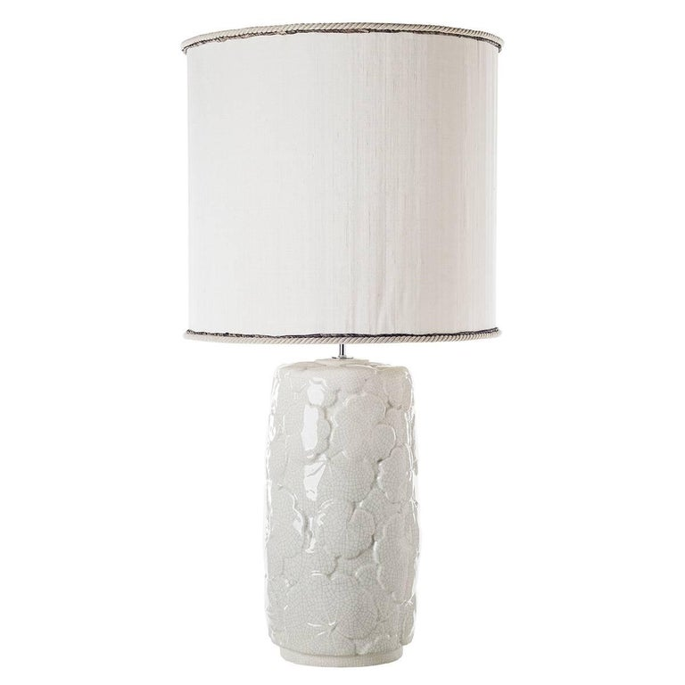 Italian Pair of Leaves Ceramic Table Lamps For Sale