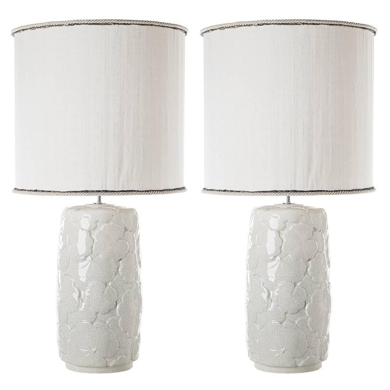 Pair of Leaves Ceramic Table Lamps For Sale