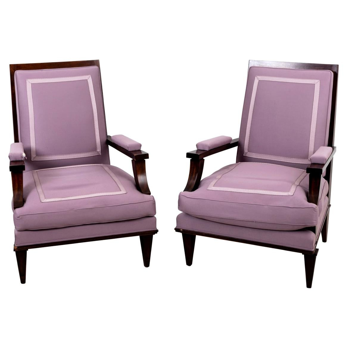 Pair of Leleu Attributed Art Deco Armchairs