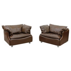 Pair of Leolux Wave Frame Lounge Chairs in Brown Leather