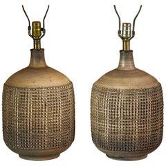 Pair of Leon Rosen for Design Technics Textured Ceramic Lamps