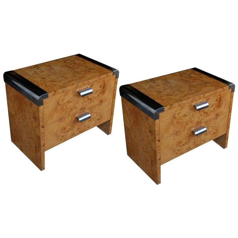 Pair of Leon Rosen for Pace Burl Chrome Nightstands For Sale