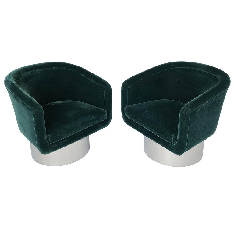 Pair of Leon Rosen Pedestal Swivel Lounge Chairs For Sale