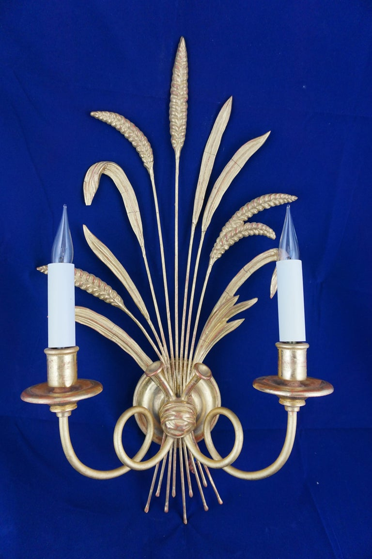 Wood Pair of Leone Cei 3850 Regency Style Wall Lights, Hand Carved and Gilded For Sale
