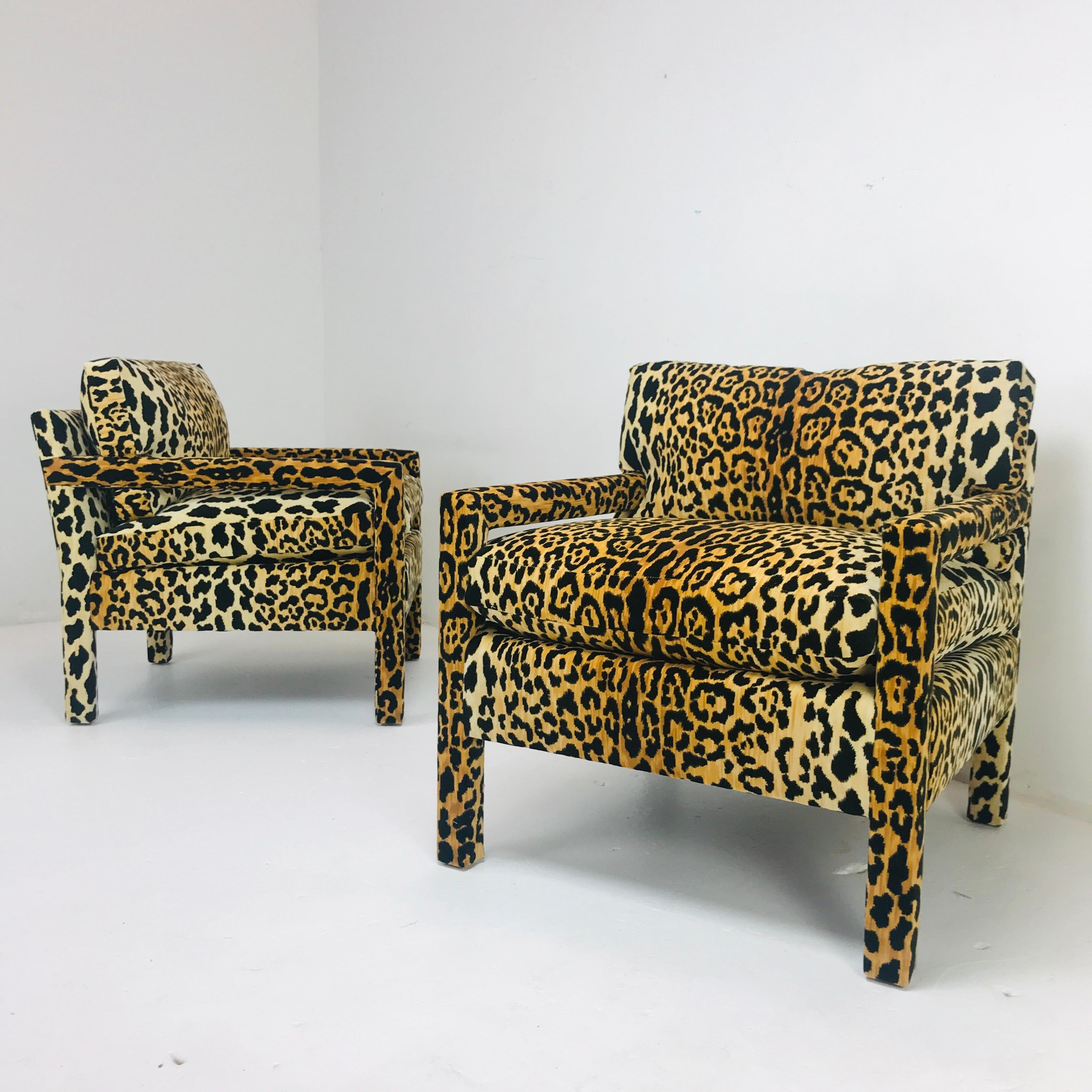 Pair Of Leopard Parson Chairs In The Style Of Milo Baughman Custom