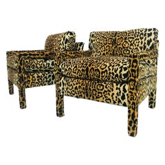 Pair of Leopard Parsons Chairs in the Style of Milo Baughman, Custom