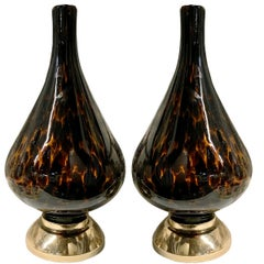 Pair of Leopard Pattern Blown Glass Table Lamps