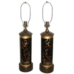 Pair of Leopard Pattern Glass Table Lamps