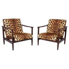 Pair of Leopard Velvet Armchairs, Hollywood Regency, Edmund Homa, 1960s, Poland