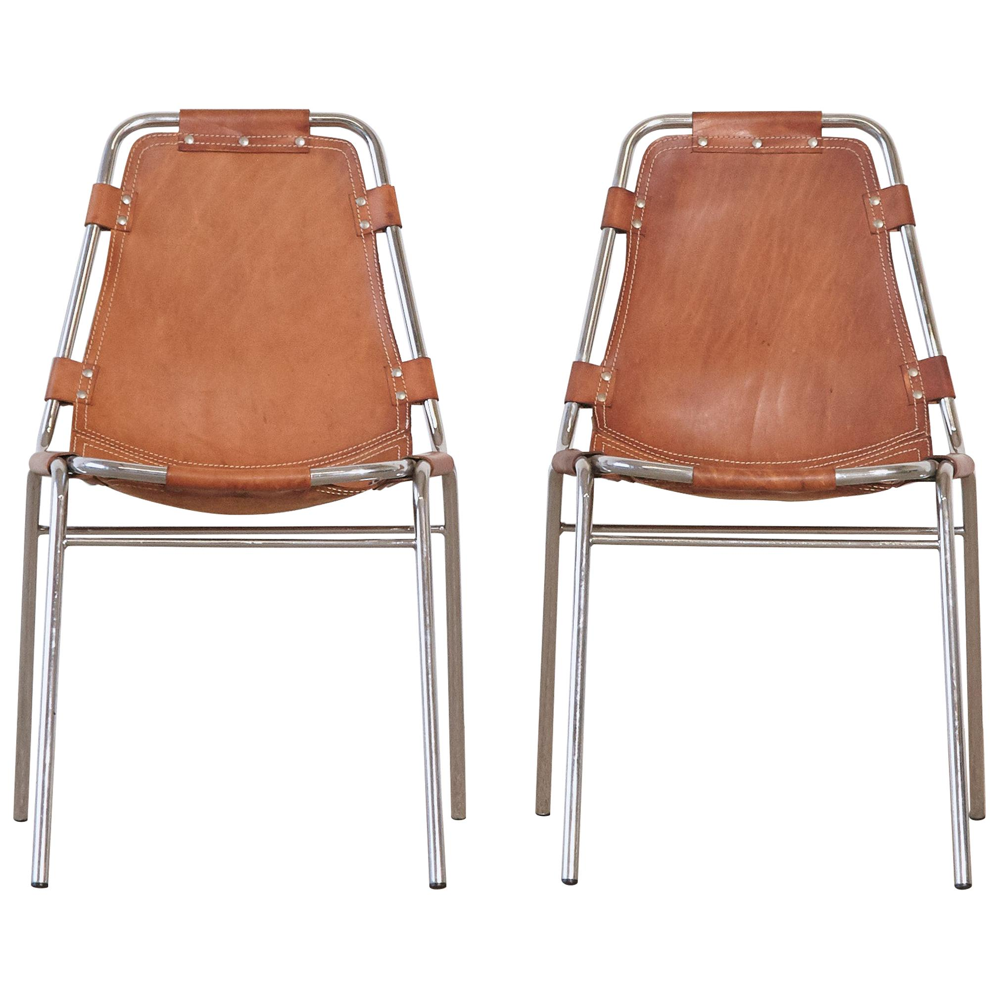 Pair of 'Les Arcs' Chairs Selected by Charlotte Perriand, 1970s