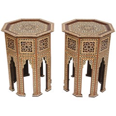 Pair of Levantine Mother of Pearl Inlaid Occasional Tables