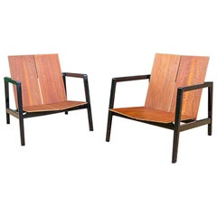 Pair of Lewis Butler Walnut Lounge Chairs Model 645 for Knoll