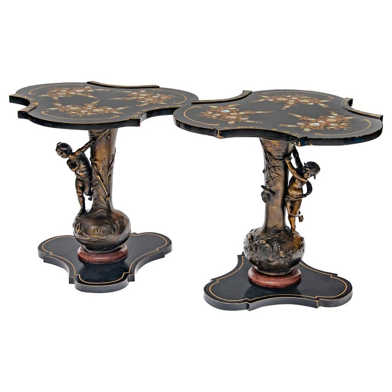 Pair of L&F Moreau Signed Art Nouveau Bronze Based Occasional Tables For Sale