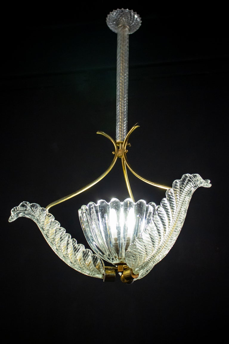 Pair of Liberty Pendants or Lanterns by Ercole Barovier, 1940s In Good Condition For Sale In Rome, IT
