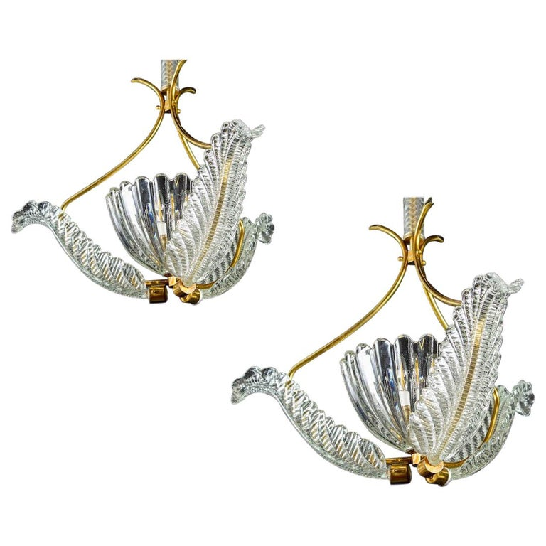 Pair of Liberty Pendants or Lanterns by Ercole Barovier, 1940s For Sale