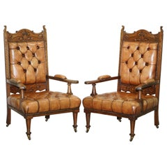 Pair of Libertys London Style Art Nouveau Chesterfield Brown Leather Armchairs