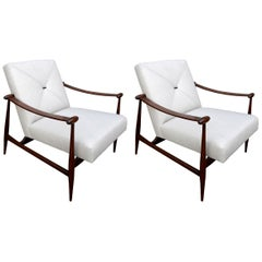 Pair of Liceu de Arte Brazilian Wood Armchairs in Beige Linen