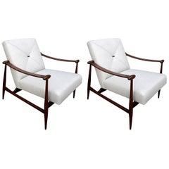 Pair of Liceu de Arte Brazilian Wood Armchairs in Beige Linen