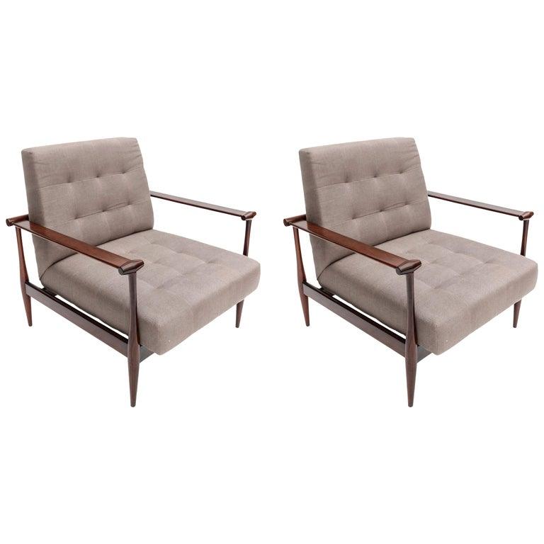 Pair of Liceu de Artes Brazilian Jacaranda 1960s Armchairs in Grey Linen For Sale