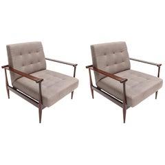 Pair of Liceu de Artes Brazilian Jacaranda 1960s Armchairs in Grey Linen