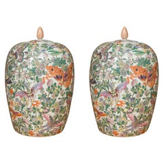 Pair of Lidded Melon Shaped Chinese Export Butterfly Pattern Jars