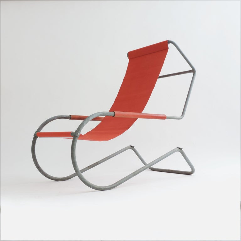 Pair of 'Lido' lounge chairs by Battista Giudici, Locarno, Switzerland, 1936. The Fabric is new by Wohnbedarf.